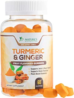 Turmeric Curcumin Gummies with Ginger, Extra Strength Chewable Vitamins Gummy, Best Vegan Joint Support Turmeric - Joint C...