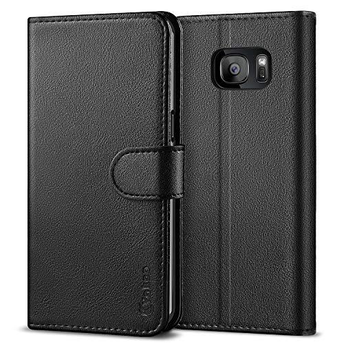 Vakoo Samsung S7 Edge Hülle, Premium Leder Brieftasche Galaxy S7 Edge Handytasche Schutzhülle Tasche Handyhülle für Samsung Galaxy S7 Edge - Schwarz