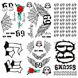 Leoars Temporary Face Tattoo Sticker, 6-Sheet 6ix9ine Tattoos Full Body Bundle Real To Life Fake Adult Men Women Kids 69 Tattoos for Halloween Costume Accessories and Parties