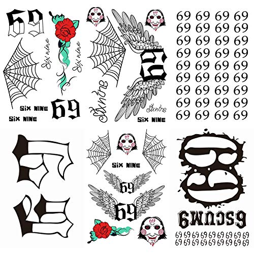 6 Sheets PADOUN Temporary Tattoos Set, 69 Tattoos Halloween Costume Face Temporary Tattoo Fake Tattoos for Costume Cosplay Party Accessory