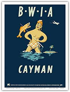 Cayman Islands - British West Indies Airways BWIA (Bee-Wee) - Vintage Airline Travel Poster by Dick Negus & Philip Sharland c.1950s - Master Art Print - 9in x 12in