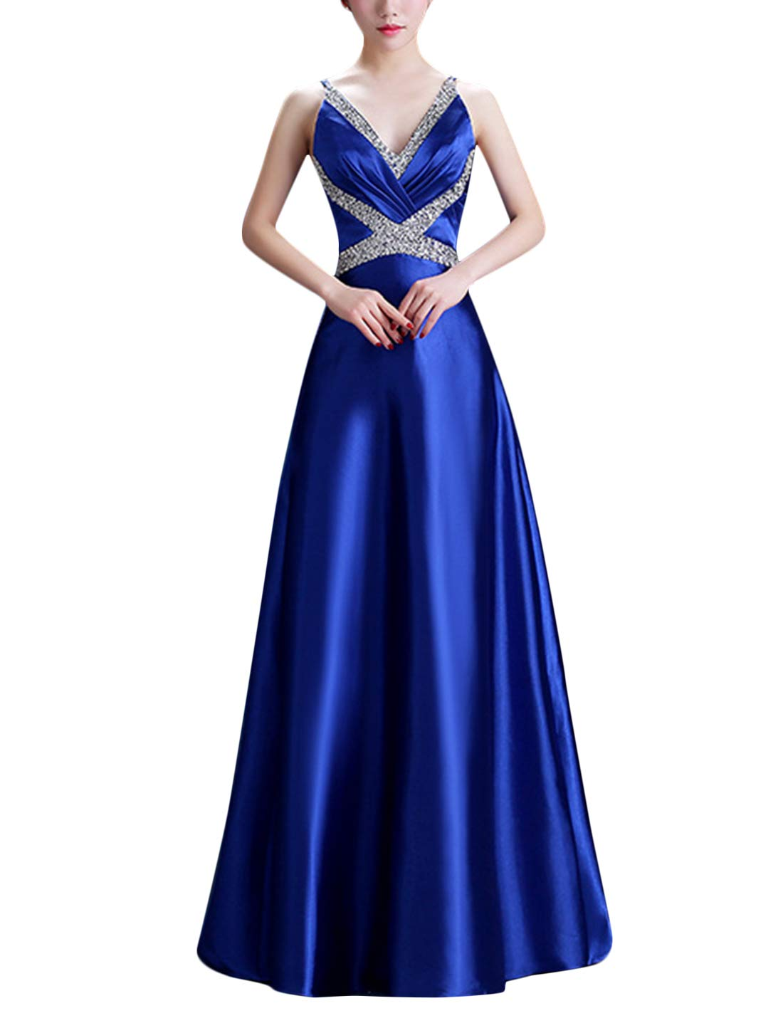 Available at Amazon: Tanming Women's Sleeveless V Neck Spaghetti Strap Evening Gown Party Maxi Dress