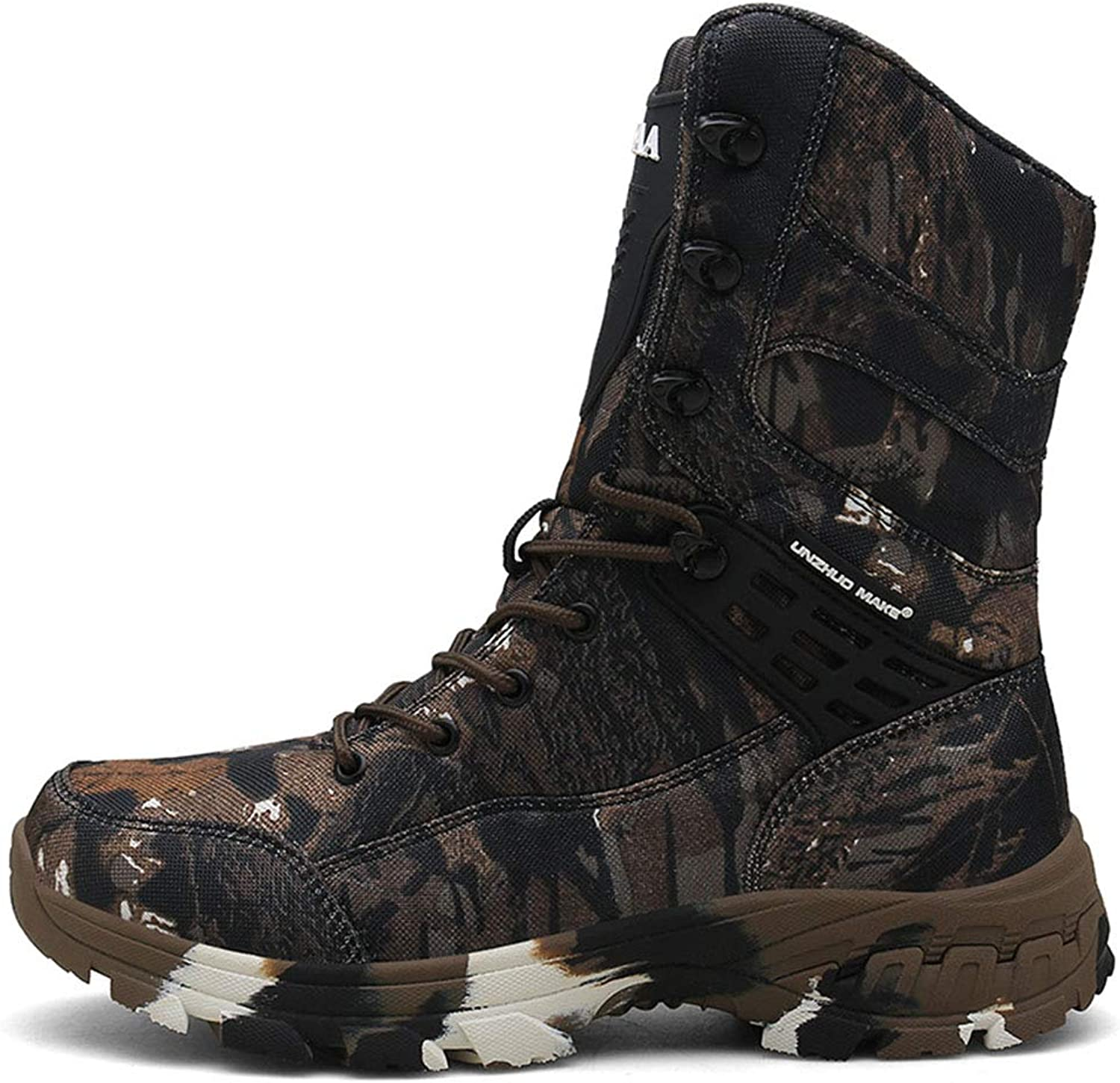 195527356ea SDKHIN Men's tactical boots safety lace up zipper Camouflage combat ...