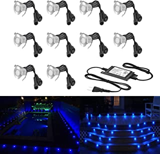 10 Pack Low Voltage LED Deck Lights Φ0.7 Outdoor Garden Yard Step Pathway Decor Lighting LED In-ground Lamp Stainless Steel SMD2835 (Blue)