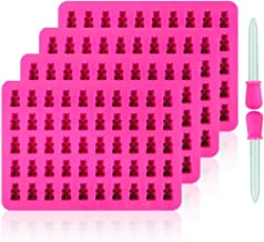 DEVIN0705 Newest Generation - 4 Pack Silicone Gummy Bear Molds 50 Cavities, 2 Bonus Droppers ,Suitable forJelly Molds, Chocolate Molds, Gummy Bear Candy Molds - Bear(Pink)