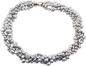 TreasureBay Womens Elegant And Classic Chunky Grey Freshwater Pearl Necklace, Multi Strands Pearl Necklace