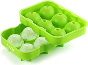 OMIAX Ice Cube Ball Maker tray, 6 x 4.5cm Ice Ball Mold with Leak proof, Flexible Silicone. Food Grade, BPA Free. Ice Sphere round Perfect for Whiskey, Scotch, Bourbon, Cocktails, Fruit Punch, Infused Fruit - Ice Cube (Green)