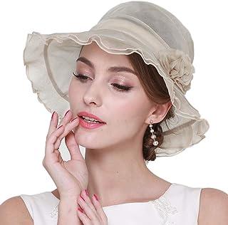 女性の日曜日の帽子、サマーシルク UVプロテクション バイザー 折り畳み式の屋外旅行のつばの広いビーチハット 調整可能なバケツキャップ