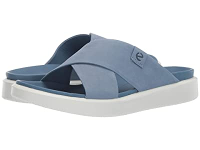 ECCO Flowt LVX Slide (Retro Blue Calf Nubuck) Women