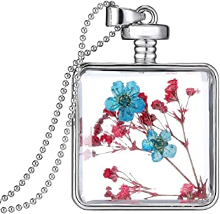 Platinum Plated DIY Dried Flower Square Lockets Pendant Necklace Birthday Gift