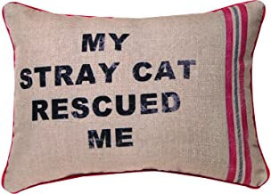 Manual Woodworkers & Weavers Throw Pillow, My Stray Cat Rescued Me, 18 x 13