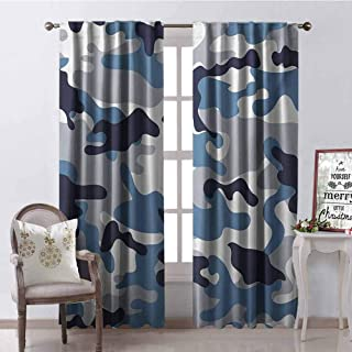 GloriaJohnson Camouflage Shading Insulated Curtain Illustration with Abstract Soft Colors Pattern Camouflage Design Soundproof Shade W100 x L84 Inch Slate Blue Indigo Grey