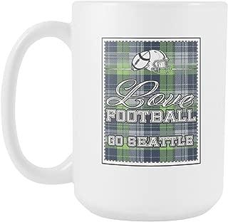 Love Football Go Seattle Fan Gifts Gingham Plaid Tartan White 15oz Mug