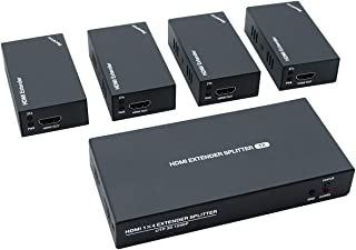 HDMI Extender Splitter 1x4 1080P@60Hz Over Cat 5E/6/7 Ethernet Cable 50m (165ft) Support EDID Copy POC Function (1 in 4 Out)
