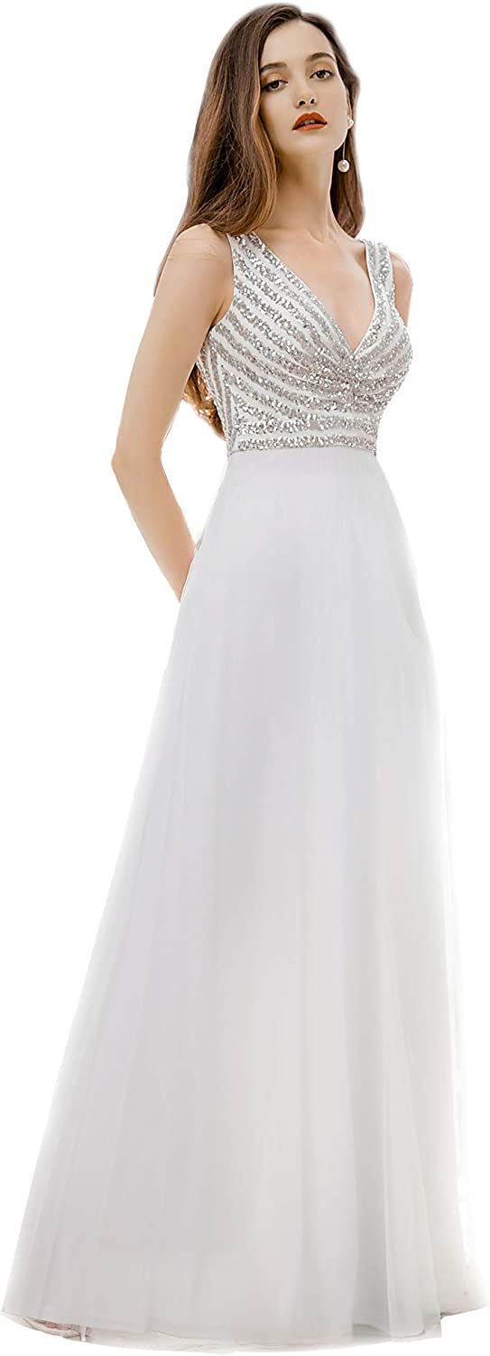 Ever-Pretty New item Women's A-line Double V-Neck Super special price Dress Sequin Formal Lon