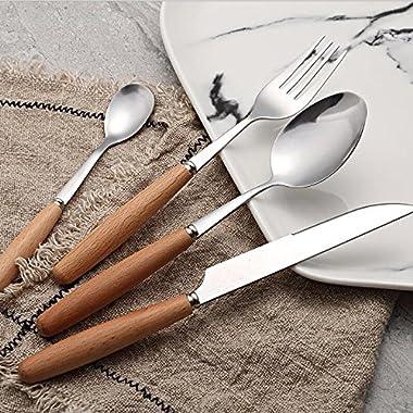 C&L 40 Pieces Wood Stainless Steel Dinnerware Set Flatware Knife Fork Spoon Wooden Handle