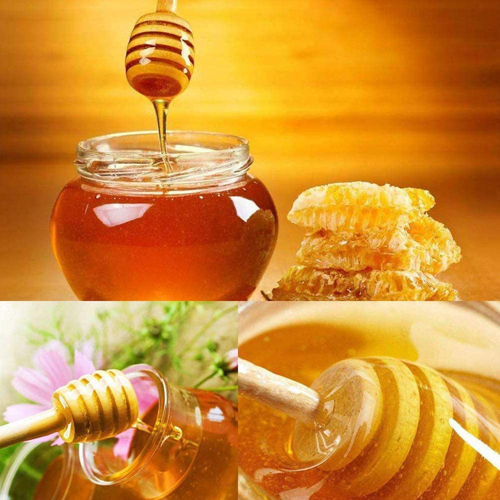 Vangonee 24Pcs Honey Dipper Sticks Wooden Honey Bar Drink Honey Stir Bar Mixing Stirrer Honey Honey Spoon Honey Mixing Sticks