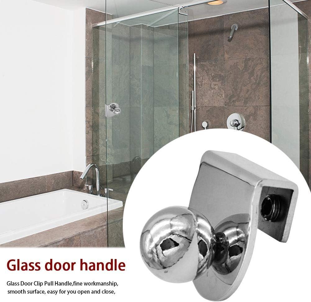 Amusingtao Glass Door Handles,Alloy Shower Glass Door Handle Pull Knob No Drilling Replacement Door Clip Pull Handle Decor for Kitchen Bathroom Cabinet