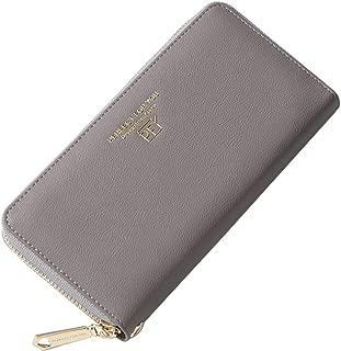 EXQUILEG Women Wallets Ladies Cluth Zip Around Wallet Clutch Wristlet Travel Organizer Checkbook Holder Long Purse (Grey)