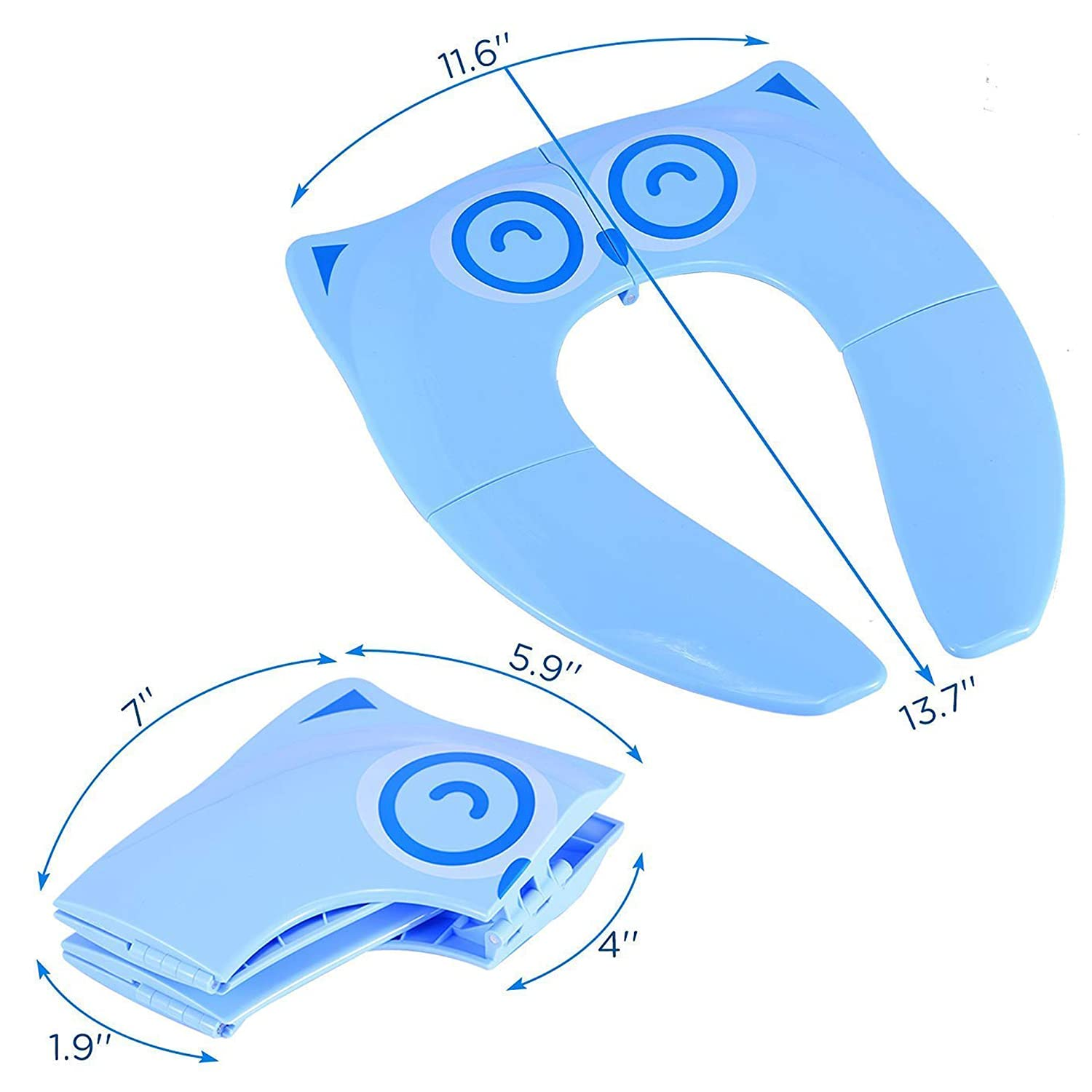 Portable Potty Seat for Toddler Toilet Training Folding Travel Training Seat for Boys and Girls - Round & Oval Toilets, Non-Slip Grip, with Free Drawstring Travel Bag