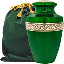 Serenity Large Green Beautiful Adult Cremation Urn for Human Ashes - w Velvet Bag