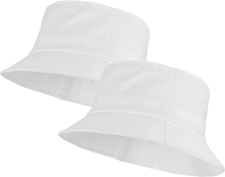 Umeepar Unisex 2 Pack 100% Cotton Bucket Hat Packable Sun Hat for Men Women