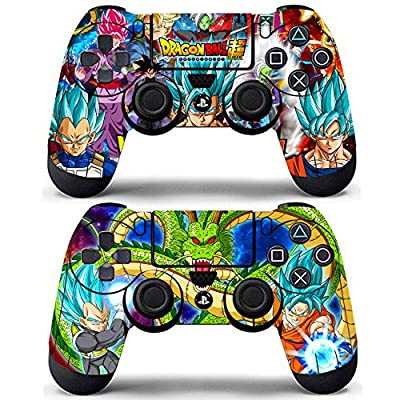 Vanknight Playstation 4 Dualshock PS4 Controller Skin Vinyl Decals Skins Stickers 2 Pack for PS4 Controller Skins PS4 Skins DBZ