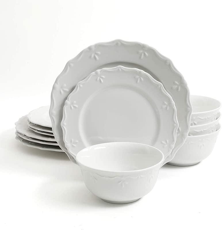Gibson Home Scallop Buffet 12 Piece Dinnerware Set White
