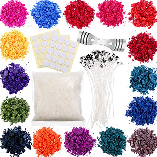 Soy Candle Wax Dye DIY Candle 16 Color Dye Flakes for Candle Molds Making, and 50 Pieces 6 Inch Candle Wick with Candle Wick Stickers and Candle Wick Centering Device