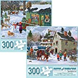 Bits and Pieces - Set of Two (2) 300 Piece Jigsaw Puzzles for Adults - Each Puzzle Measures 18' X 24' - Maple Sap Timer, Winter Chores Jigsaws by Artist Joseph Burgess
