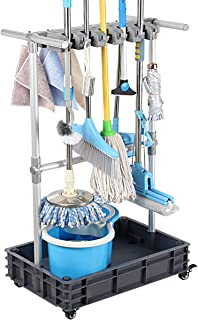 Sponsored Ad – QTJH Broom And Mop Holder Put Wet Mops Movable Floor-Mounted Mop Rack Floor Standing Cleaning Tool Cart Sto...