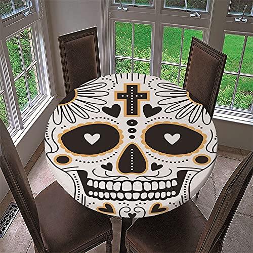 Mantel Antimanchas Redondo, Chickwin Estampado de Calavera Mantel de Mesa Impermeable Diseño de Borde Elástico, Mantel Redondo para Comedor, Cocina y Picnic, Fiestas (200cm,Cruz Amarilla)