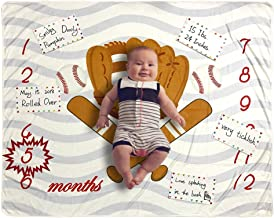 Baby Monthly Milestone Blanket Photo Prop for Newborn Growth Photography – Baseball Sports Month Blanket for Baby Boy Shower Gift (Baseball)