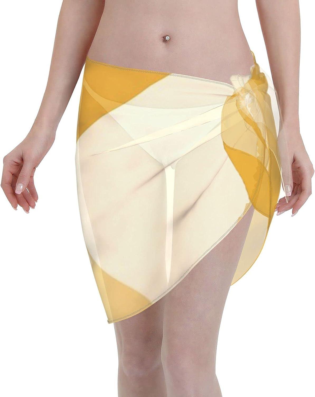 2053 pants Gradient Geometry - Mustard Women Chiffon Beach Cover ups Beach Swimsuit Wrap Skirt wrap Bathing Suits for Women
