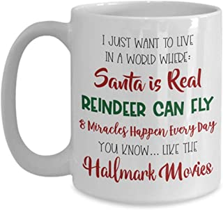 OttoRiven101 - Funny Hallmark Christmas Movie Mug - Santa is Real, Reindeer can Fly, and Miracles Happen Like the Hallmark Movies, 11oz Ceramic Coffee Cup, High Gloss