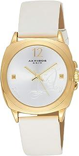 ساعة يد من اكريبوس اكس اكس اي في بحركة كوارتز للنساء، بعقارب وسوار من الجلد Ak902Wt، سوار لون أبيض