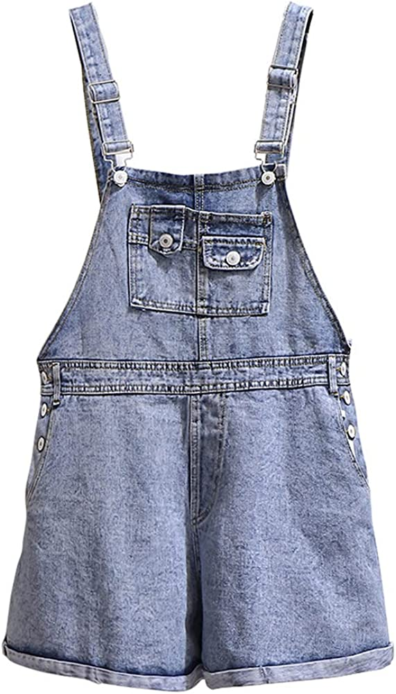 SCOFEEL Women's Casual Denim Overalls Shorts Loose Fit Solid Color Wide Leg Oversized Baggy Jumpsuits Pants Plus Size