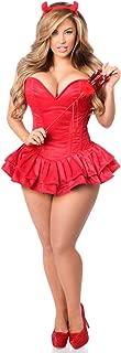 Women's Top Drawer 3 Pc Glitter Devil Corset Dress Costume