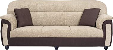 Torque - Ruben 3 Seater Fabric Sofa for Living Room (Cream - Brown)