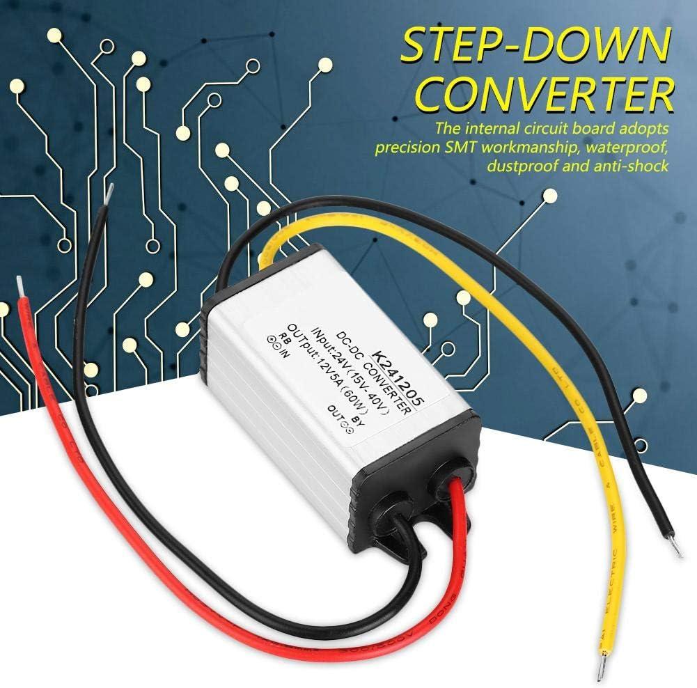 24v to 12v Step Down Converter Voltage Regulator, 24V to 12V DC Converter 5A 60W Step Down Power Supply Adapter Transformer Reducer, Voltage Changer for Car Truck Boat Solar System