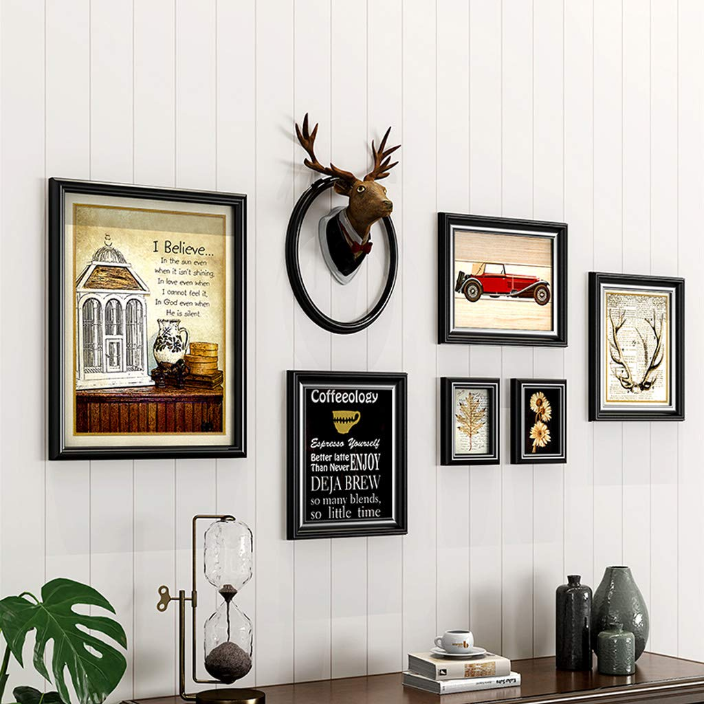 Gran Múltiples Marcos de Fotos de Madera Collage de Pared Set 7 Piezas Vintage DIY combinación Escalera Pintura Decorativa, Marco Transparente de Vidrio + Negro: Amazon.es: Hogar