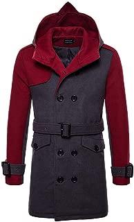 iLUGU Trench Coat Men's Autumn Winter Packwork Jacket Pocket Hoodie Long Button Hooded T Shirt
