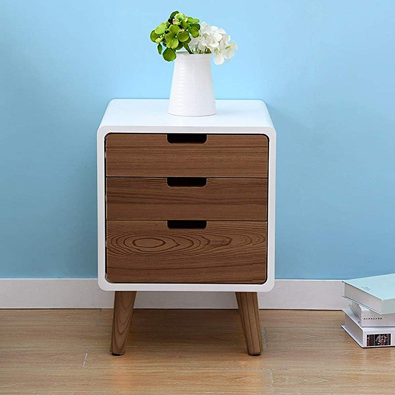 Changde Bedside Table Bedside Table Creative Modern Three Story Drawer Bedroom Small Storage Storage Cabinet Suitable For Living Room Bedroom Study 3 Colors Available End Tables Color Walnut