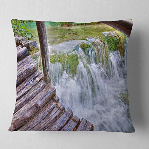 Designart Waterfall In Plitvice Lakes Landscape Photo Throw Living Room Sofa Pillow Insert Cushion Cover Printed On Both Side 26 In X 26 In Shefinds