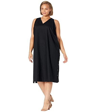 Madewell Plus Linen-Cotton Side-Button Midi Dress