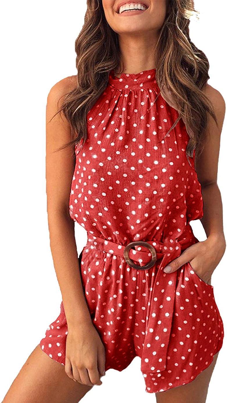 PRETTYGARDEN Womens Summer Polka dot Printed Halter Neck Sleeveless Elastic Waist One Piece Short Jumpsuit Rompers