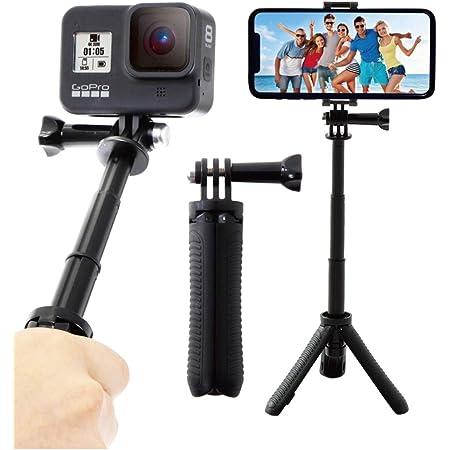 【ActyGo】 GoPro ゴープロ アクセサリー 三脚自撮り棒 hero8 hero7 スマホ その他アクションカメラ対応