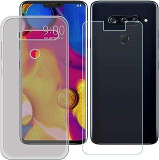 YZKJ Fodral för LG V40 ThinQ Cover grå mjuk silikon skyddsfodral TPU skal skal + pansarglas skärmskydd för LG V40 ThinQ (...