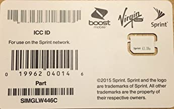 Sprint Boost Virgin Mobile Nano SIM Card ICCID SIMGLW446C