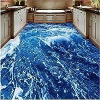 Xbwy 装飾壁画現代のミニマリストの海水床壁画壁紙浴室摩耗ノンスリップ防水増粘自己接着ビニール壁紙-350X250Cm